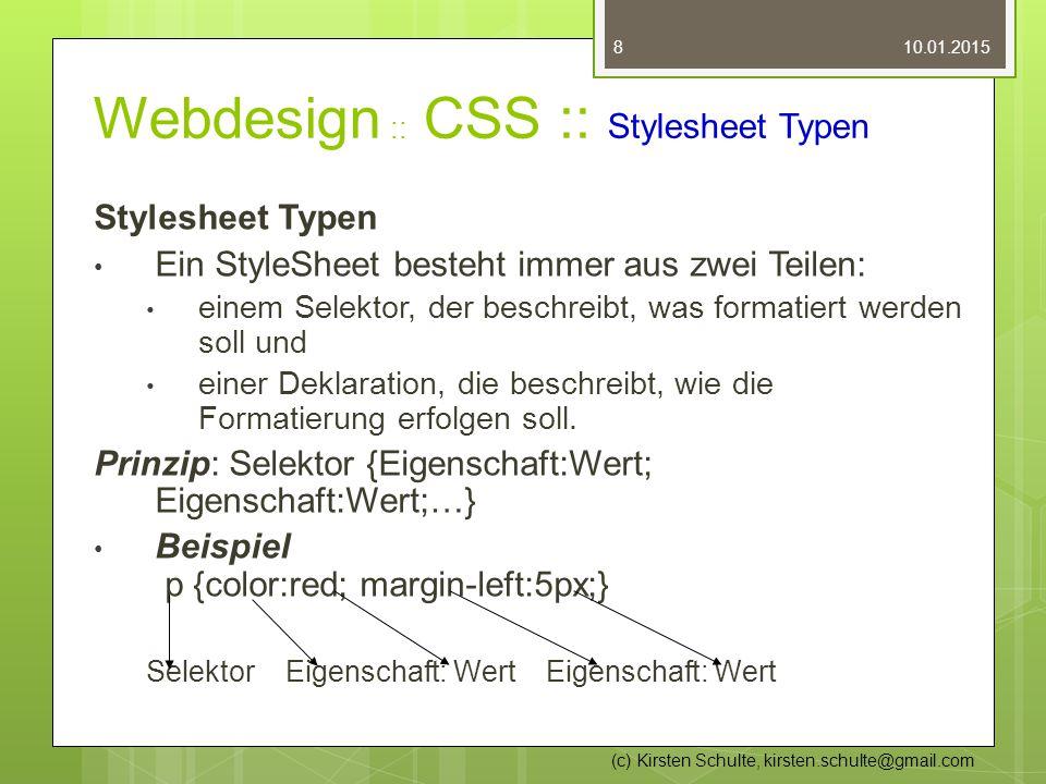 Webdesign :: CSS :: Stylesheet Typen