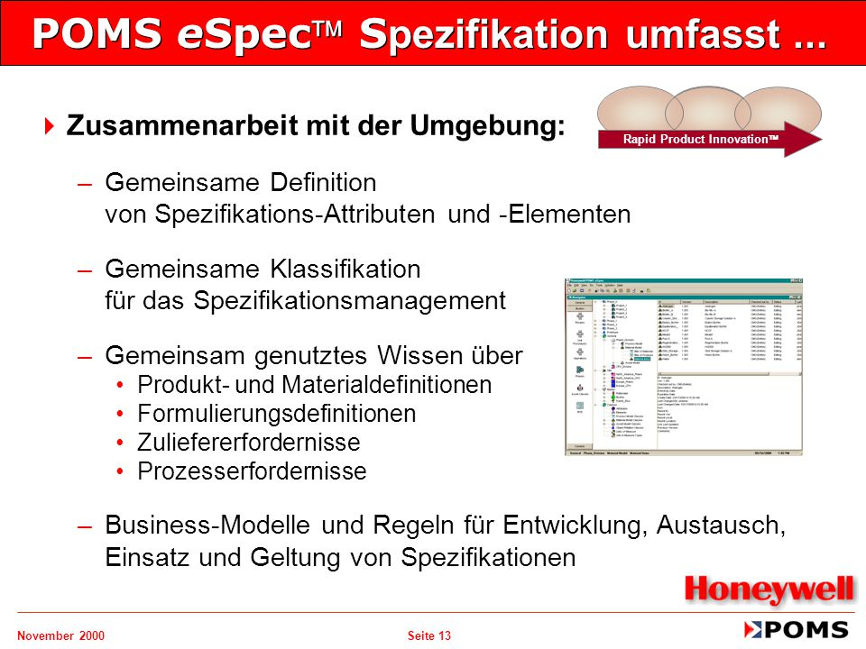 POMS eSpec Spezifikation umfasst ...