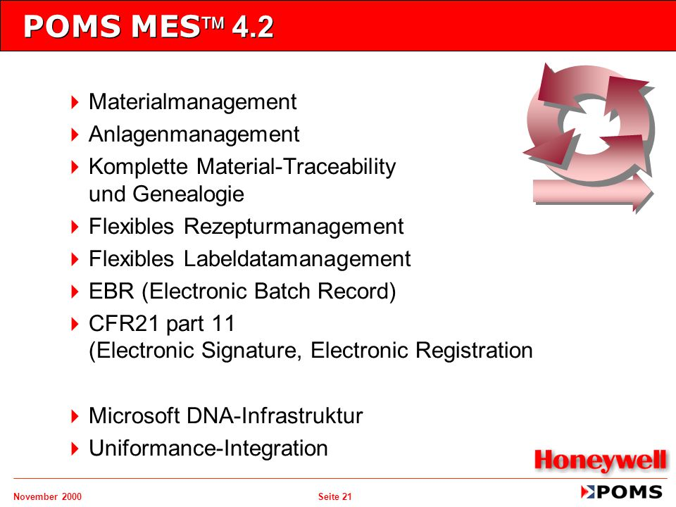 POMS MES 4.2 Materialmanagement Anlagenmanagement