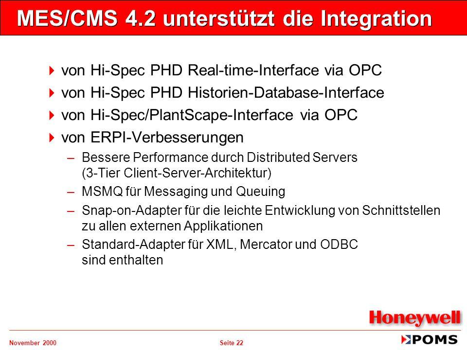 MES/CMS 4.2 unterstützt die Integration