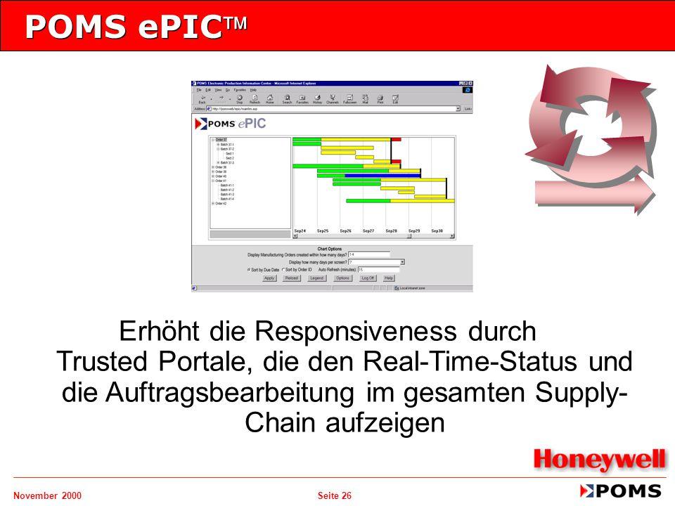 POMS ePIC Erhöht die Responsiveness durch Trusted Portale, die den Real-Time-Status und die Auftragsbearbeitung im gesamten Supply-Chain aufzeigen.
