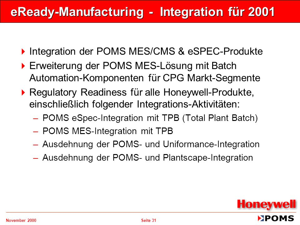 eReady-Manufacturing - Integration für 2001