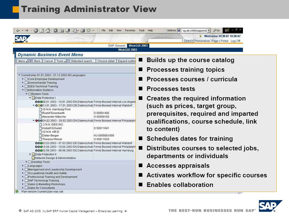 Training Administrator View