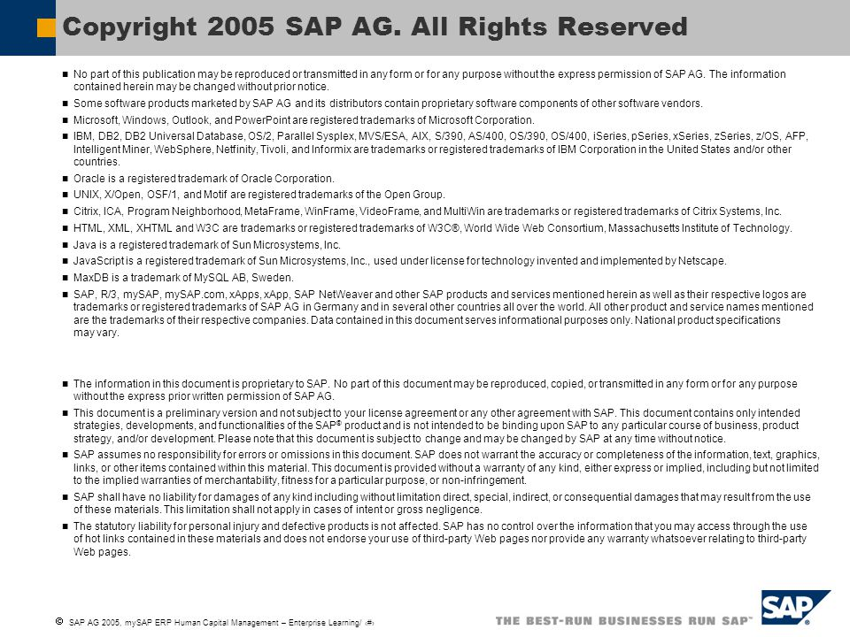 Copyright 2005 SAP AG. All Rights Reserved