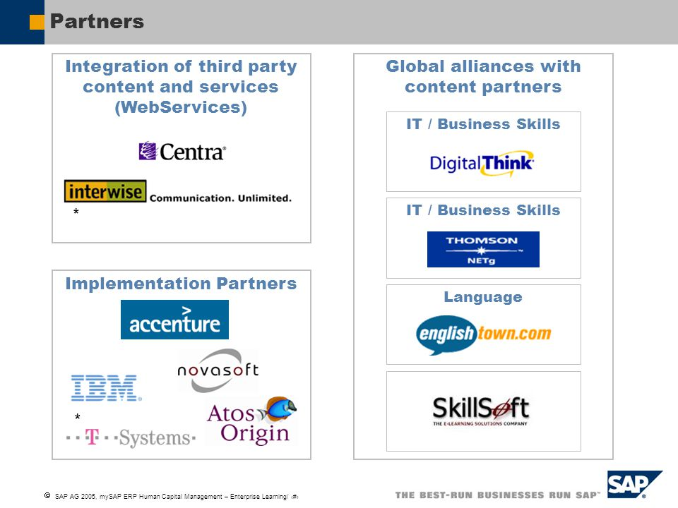 Partners Integration of third party content and services (WebServices)