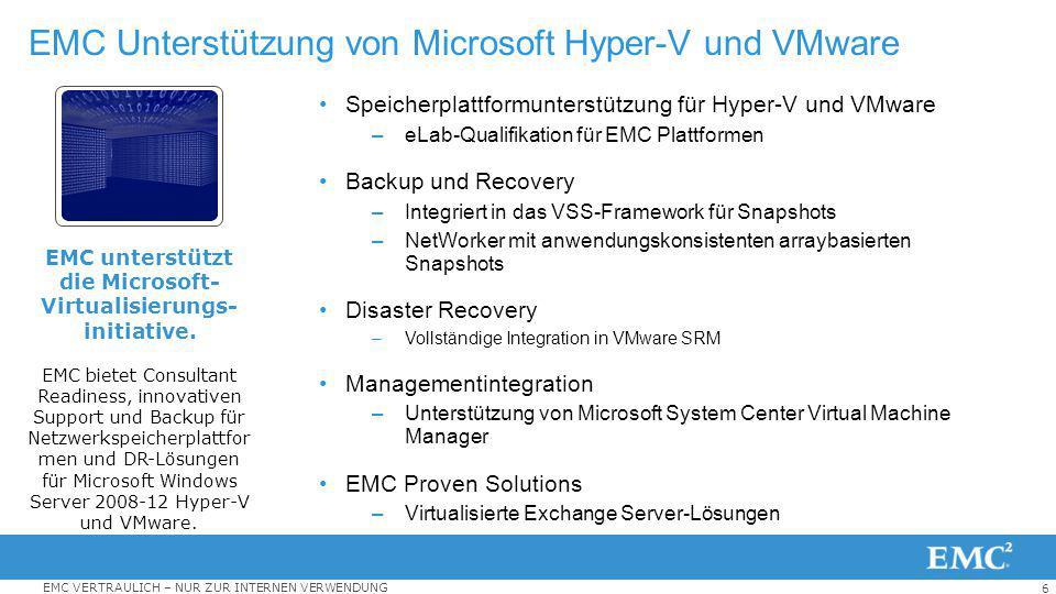 EMC Unterstützung von Microsoft Hyper-V und VMware