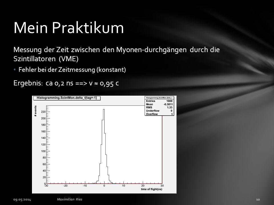 Mein Praktikum Messung der Zeit zwischen den Myonen-durchgängen durch die Szintillatoren (VME) Fehler bei der Zeitmessung (konstant)