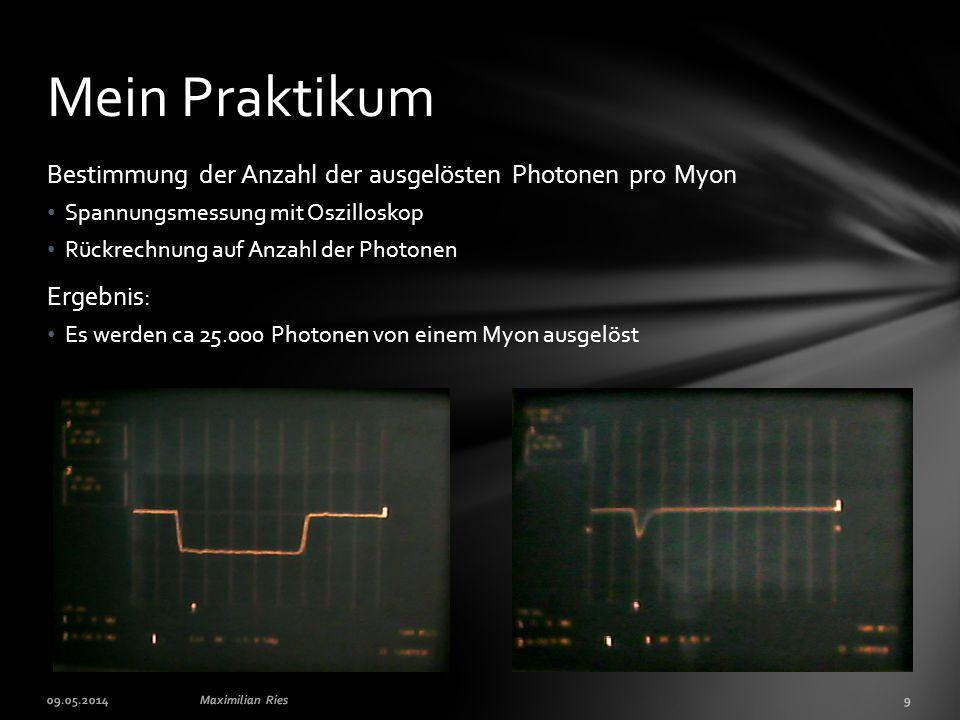 Mein Praktikum Bestimmung der Anzahl der ausgelösten Photonen pro Myon