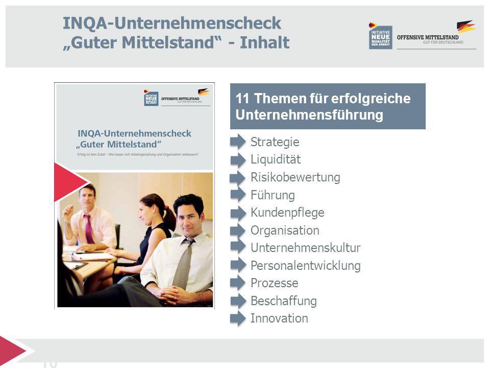 """INQA-Unternehmenscheck """"Guter Mittelstand - Inhalt"""