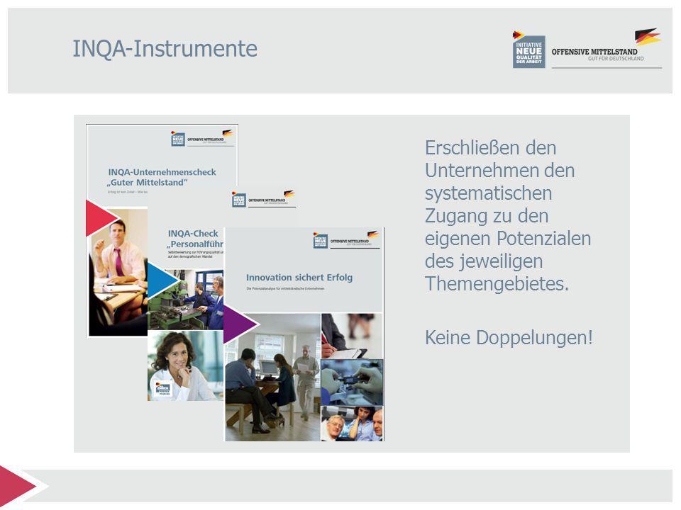 INQA-Instrumente Erschließen den Unternehmen den systematischen Zugang zu den eigenen Potenzialen des jeweiligen Themengebietes.