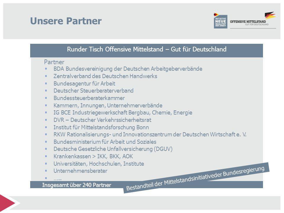 Unsere Partner Runder Tisch Offensive Mittelstand – Gut für Deutschland. Partner. BDA Bundesvereinigung der Deutschen Arbeitgeberverbände.