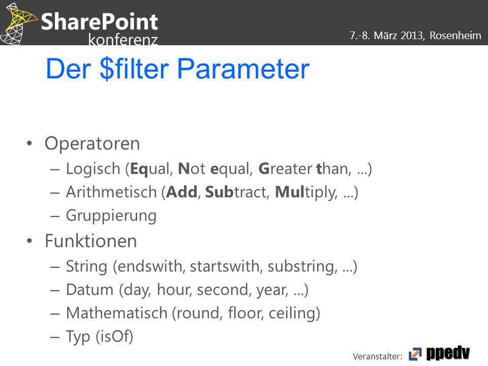 Der $filter Parameter Operatoren Funktionen