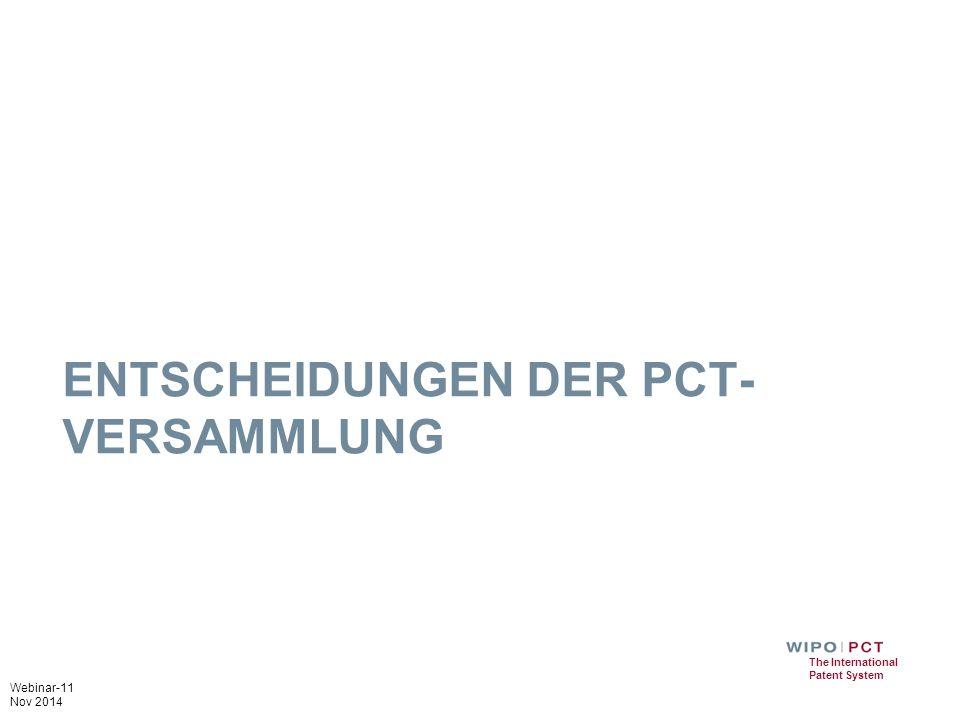 Entscheidungen der PCT-Versammlung