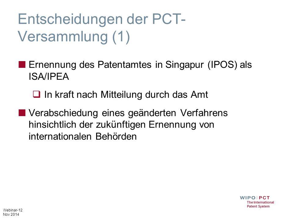 Entscheidungen der PCT-Versammlung (1)