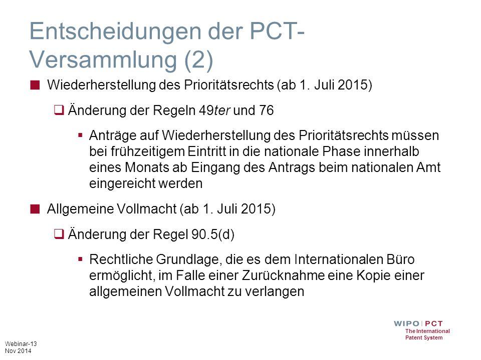 Entscheidungen der PCT-Versammlung (2)