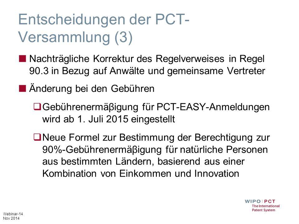Entscheidungen der PCT-Versammlung (3)