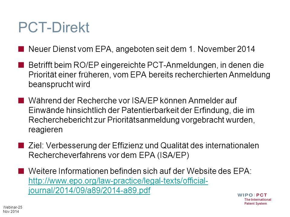 PCT-Direkt Neuer Dienst vom EPA, angeboten seit dem 1. November 2014