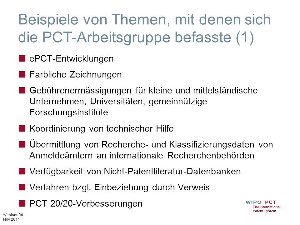 Beispiele von Themen, mit denen sich die PCT-Arbeitsgruppe befasste (1)