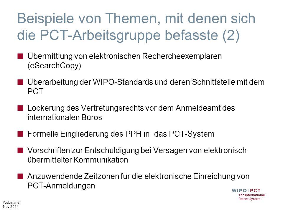 Beispiele von Themen, mit denen sich die PCT-Arbeitsgruppe befasste (2)