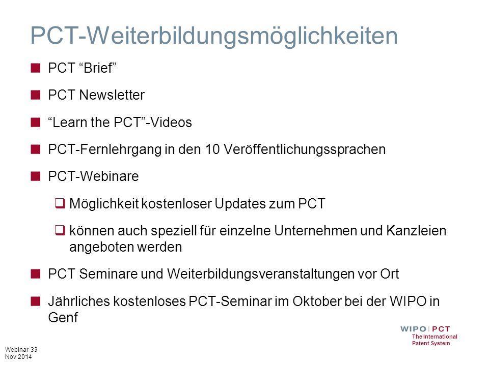PCT-Weiterbildungsmöglichkeiten
