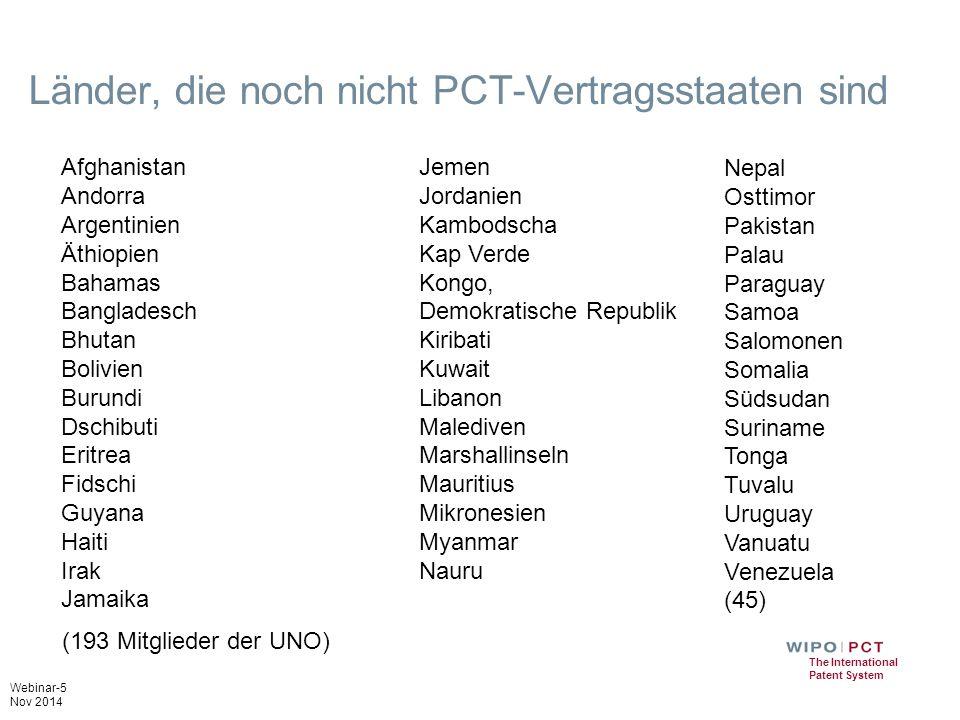 Länder, die noch nicht PCT-Vertragsstaaten sind