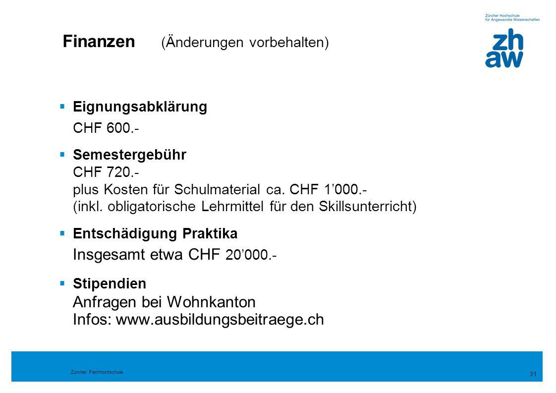 Finanzen (Änderungen vorbehalten)