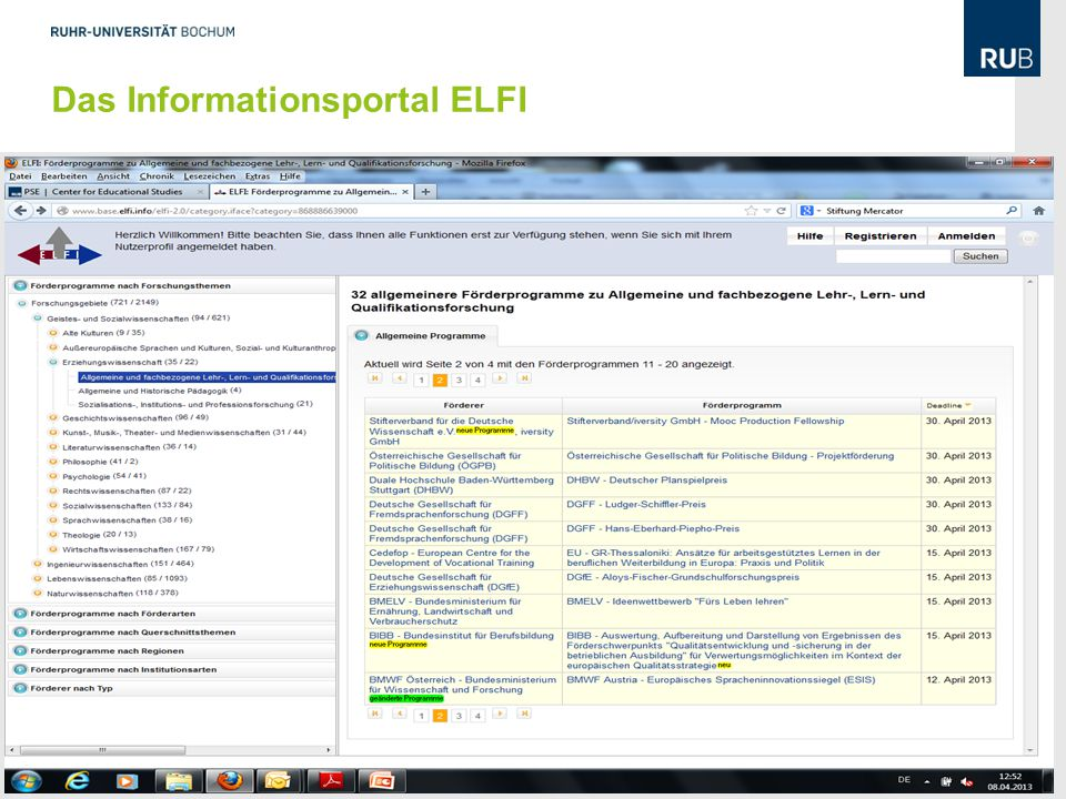 Das Informationsportal ELFI