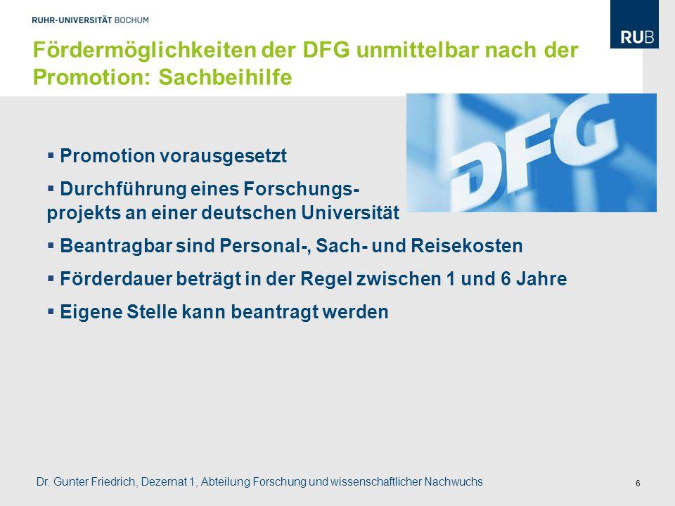 Fördermöglichkeiten der DFG unmittelbar nach der Promotion: Sachbeihilfe