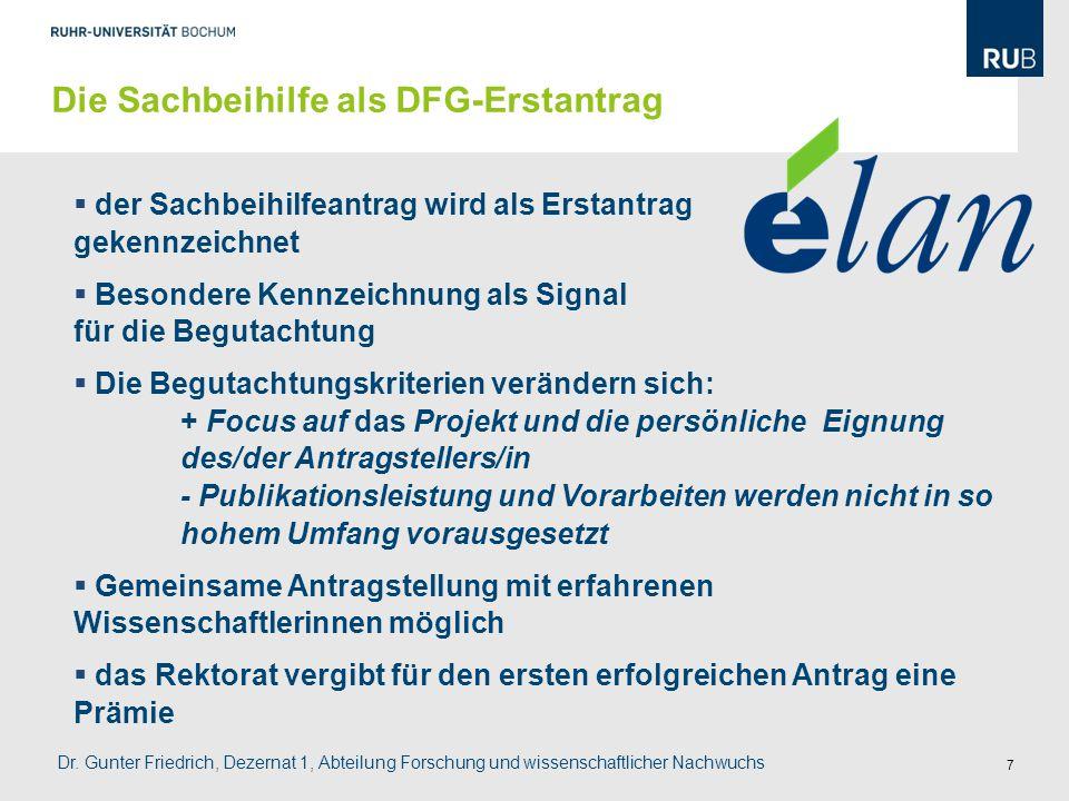 Die Sachbeihilfe als DFG-Erstantrag