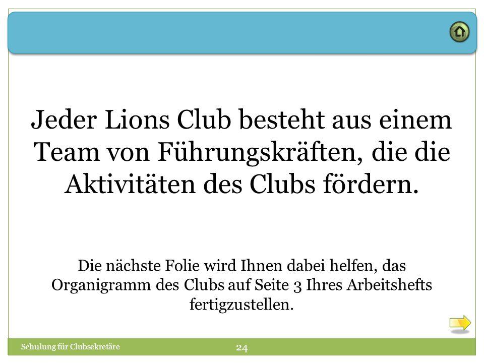 Jeder Lions Club besteht aus einem Team von Führungskräften, die die Aktivitäten des Clubs fördern.
