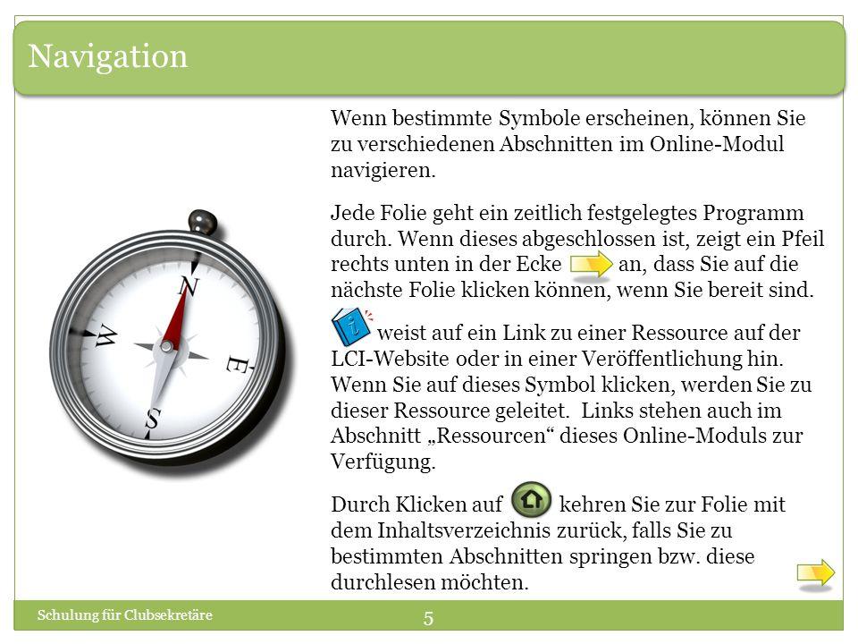 Navigation Wenn bestimmte Symbole erscheinen, können Sie zu verschiedenen Abschnitten im Online-Modul navigieren.