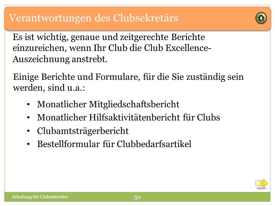 Verantwortungen des Clubsekretärs