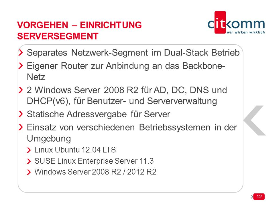 Vorgehen – Einrichtung Serversegment