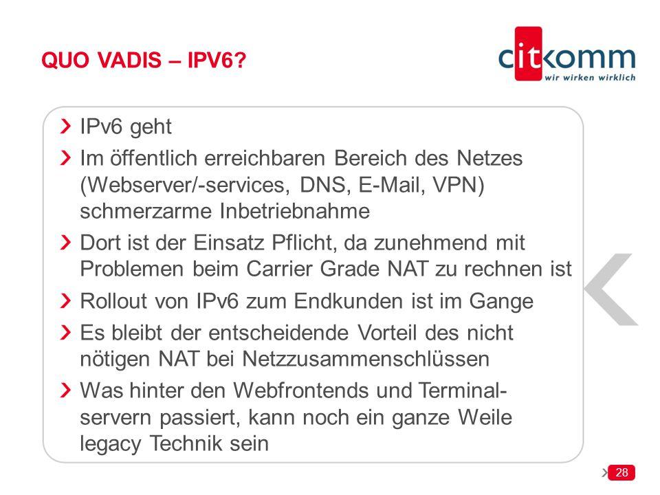 Rollout von IPv6 zum Endkunden ist im Gange