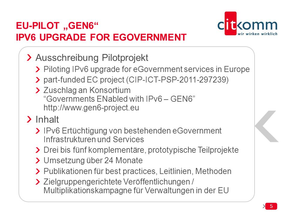 "EU-Pilot ""GEN6 IPv6 upgrade for eGovernment"