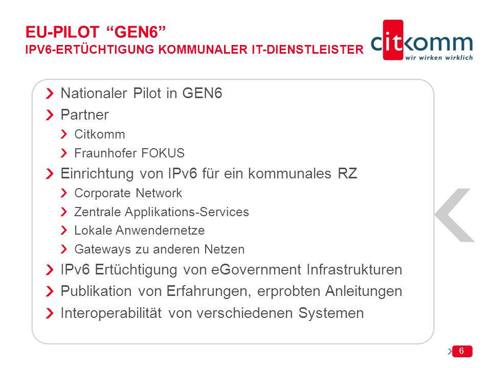 EU-Pilot GEN6 IPv6-Ertüchtigung kommunaler IT-Dienstleister
