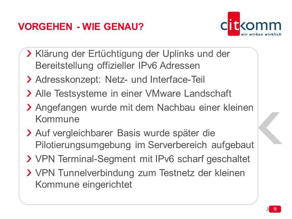 Vorgehen - wie genau Klärung der Ertüchtigung der Uplinks und der Bereitstellung offizieller IPv6 Adressen.
