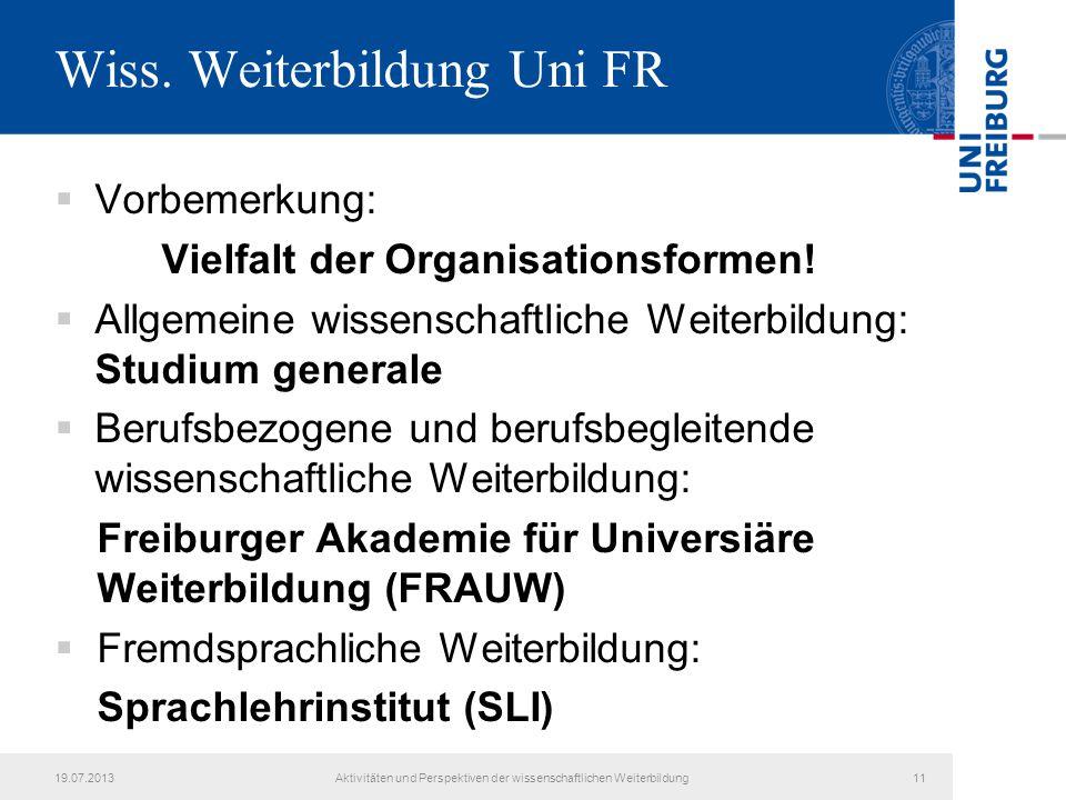Wiss. Weiterbildung Uni FR
