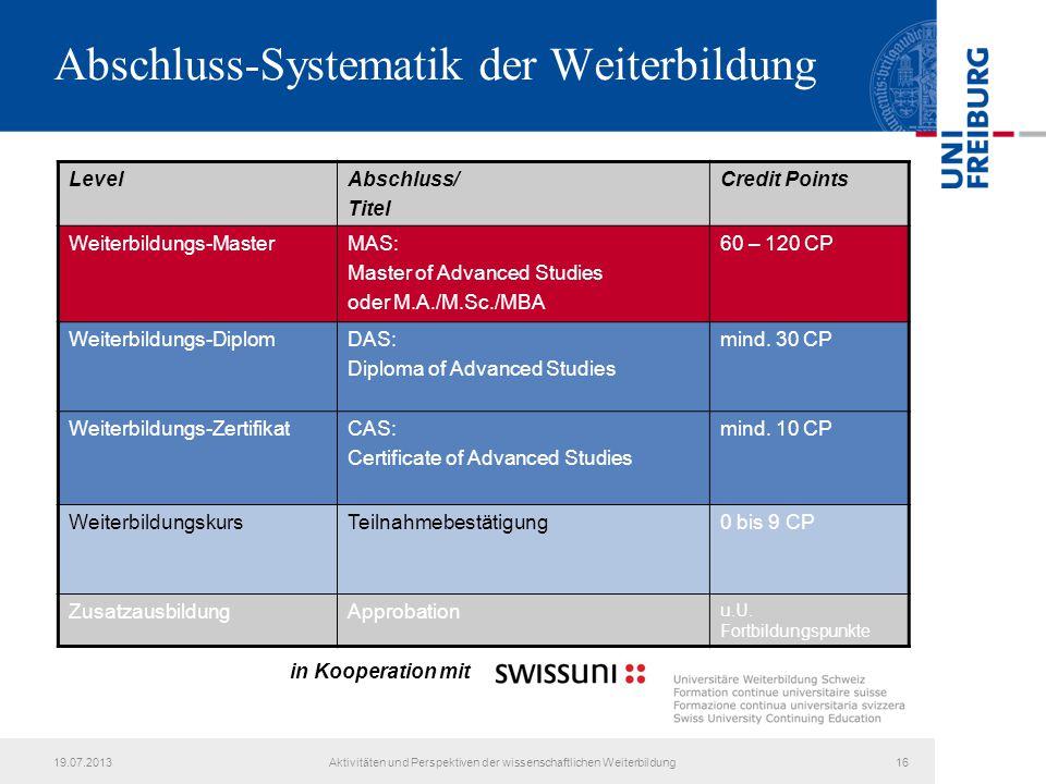Abschluss-Systematik der Weiterbildung