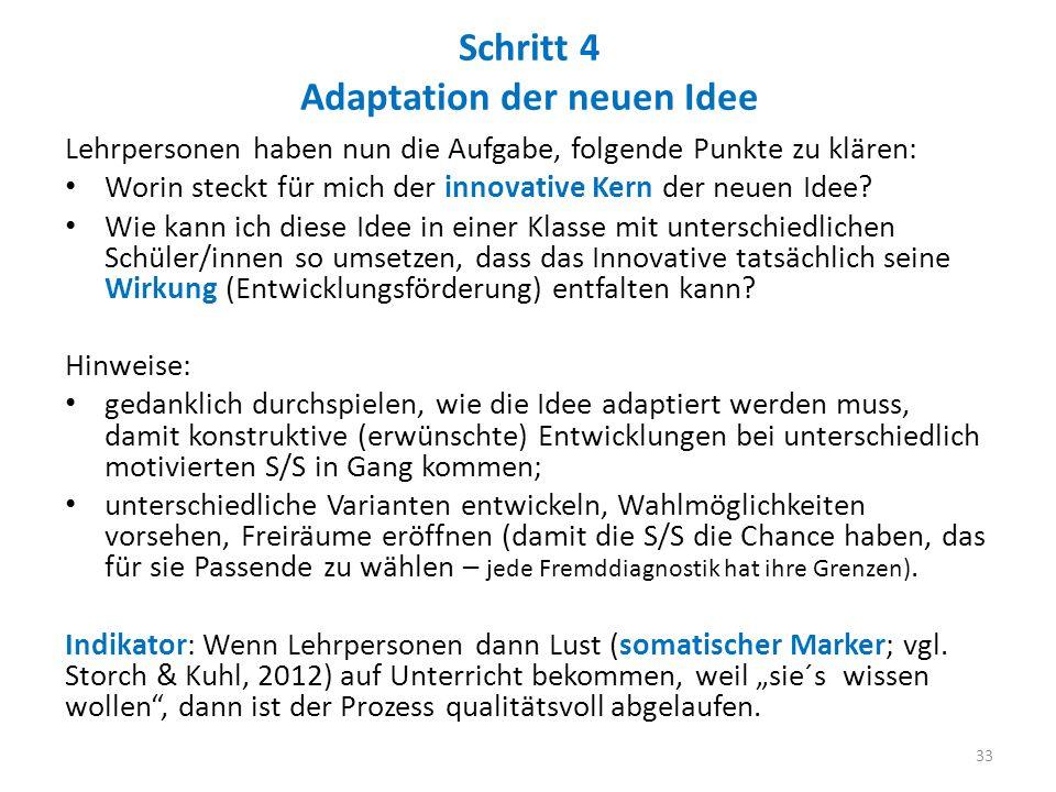 Schritt 4 Adaptation der neuen Idee