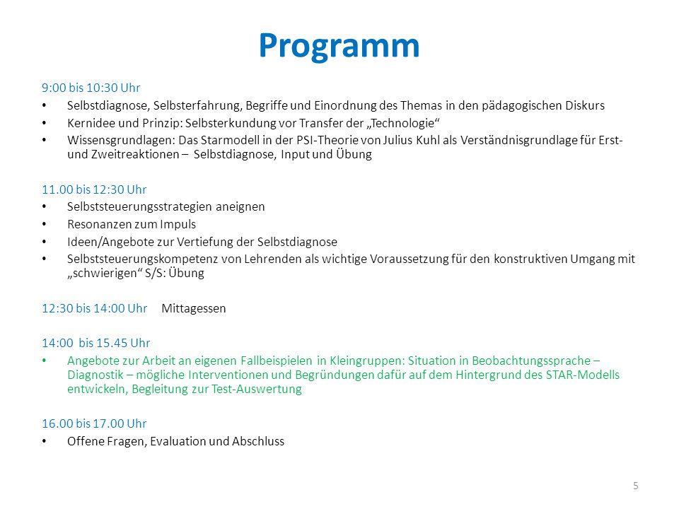 Programm 9:00 bis 10:30 Uhr. Selbstdiagnose, Selbsterfahrung, Begriffe und Einordnung des Themas in den pädagogischen Diskurs.