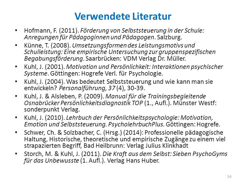 Verwendete Literatur Hofmann, F. (2011). Förderung von Selbststeuerung in der Schule: Anregungen für Pädagoginnen und Pädagogen. Salzburg.