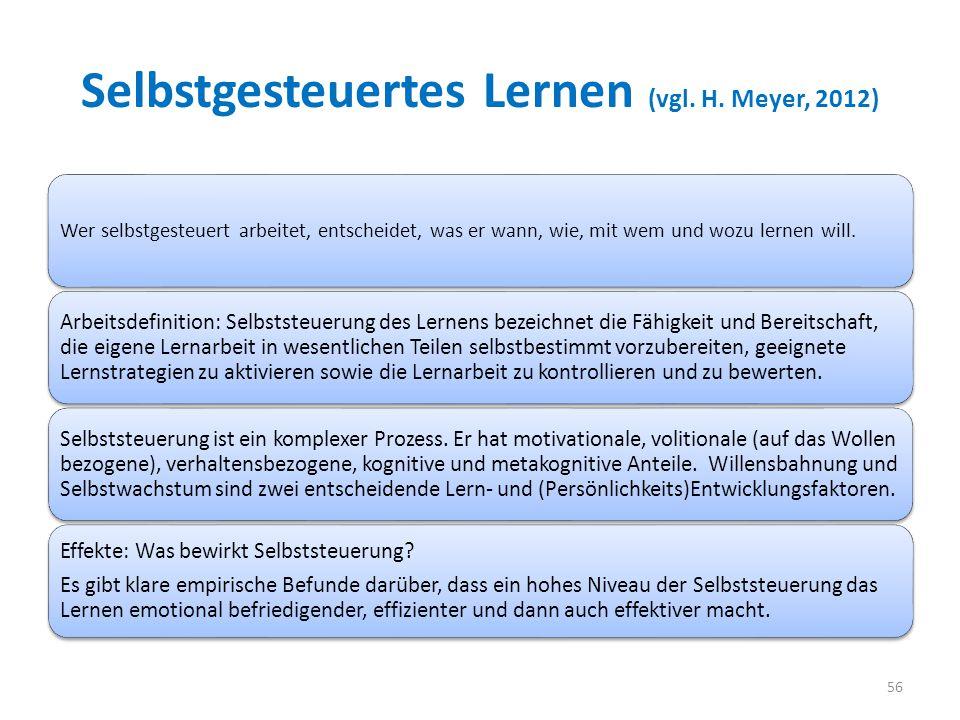 Selbstgesteuertes Lernen (vgl. H. Meyer, 2012)