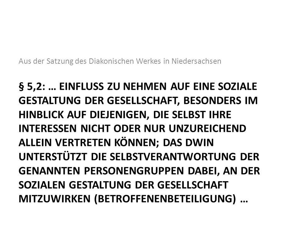 Aus der Satzung des Diakonischen Werkes in Niedersachsen