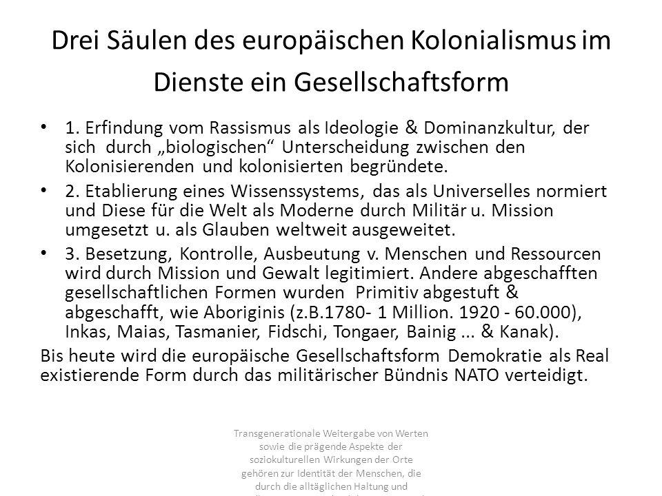 Drei Säulen des europäischen Kolonialismus im Dienste ein Gesellschaftsform