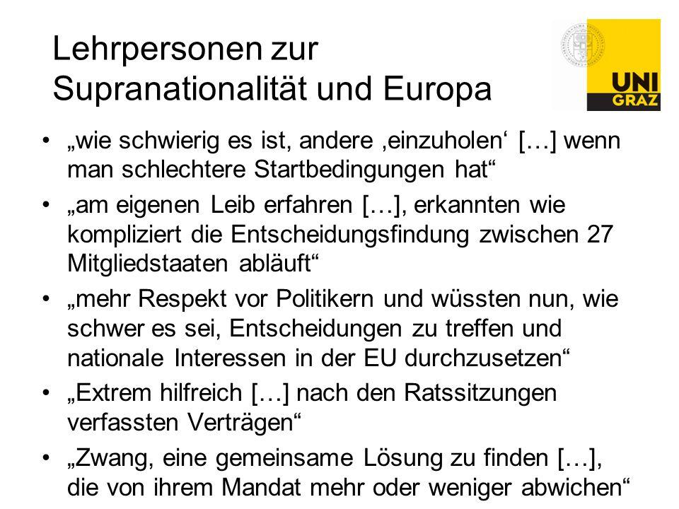 Lehrpersonen zur Supranationalität und Europa