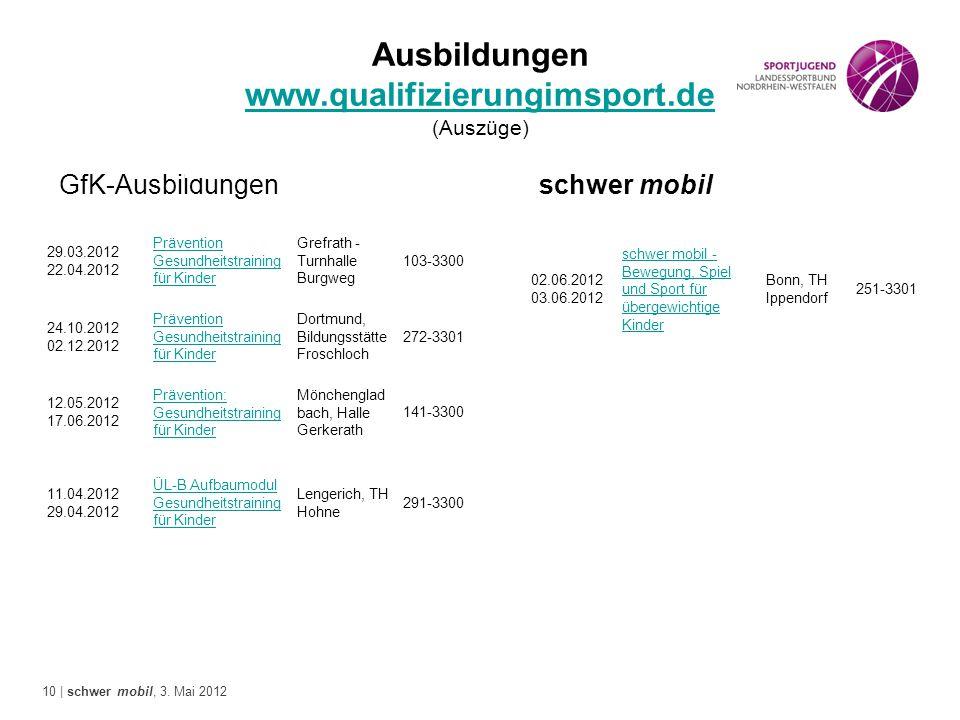 Ausbildungen www.qualifizierungimsport.de (Auszüge)