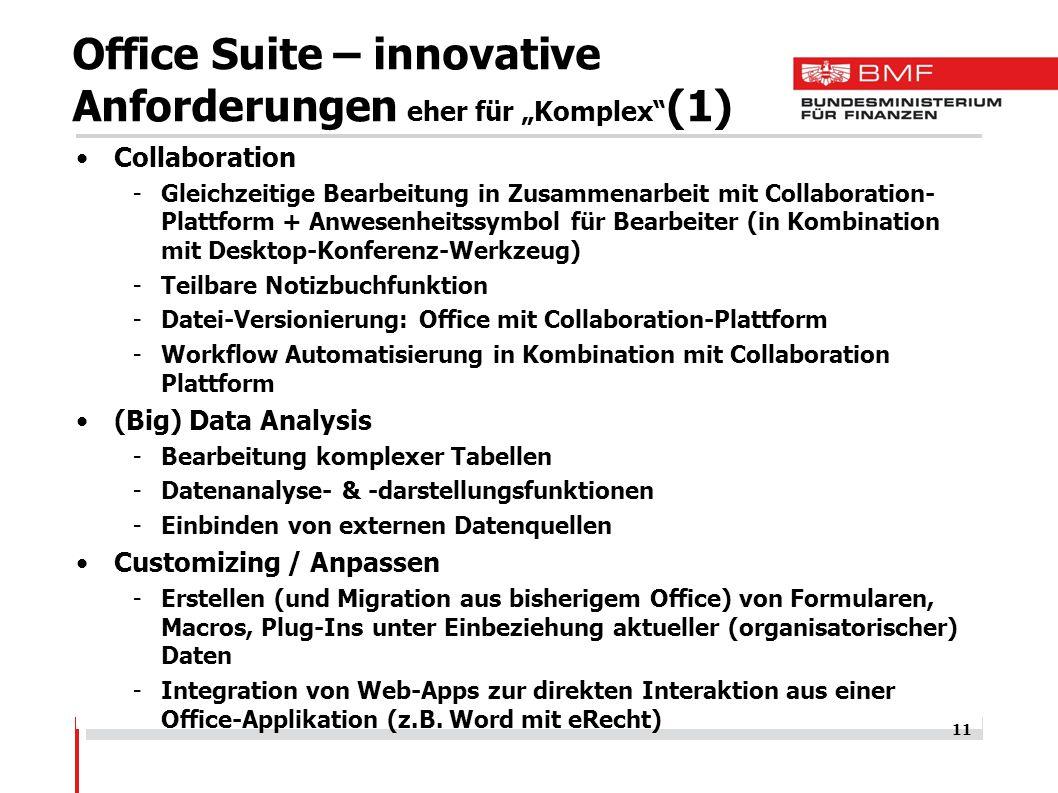 """Office Suite – innovative Anforderungen eher für """"Komplex (1)"""