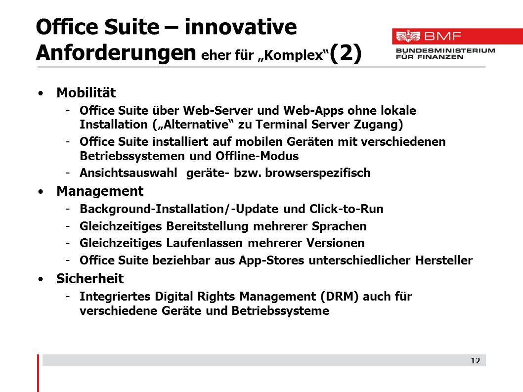 """Office Suite – innovative Anforderungen eher für """"Komplex (2)"""