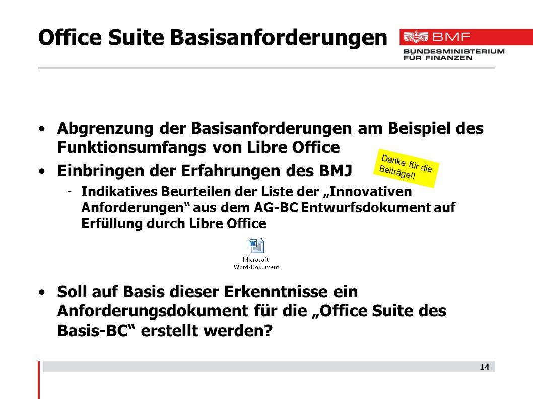 Office Suite Basisanforderungen